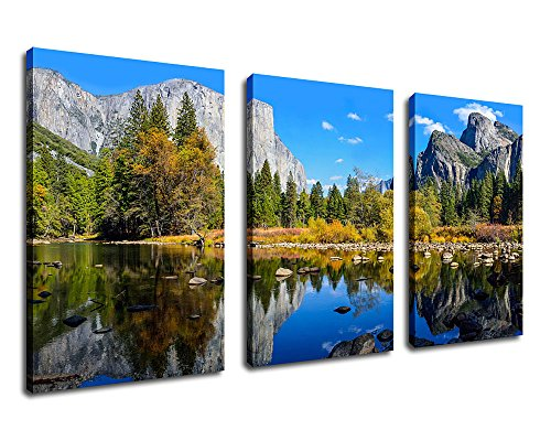 Canvas Painting Mountain Lake Wall Art Nature Picture 20 X 30 3 Pieces Yosemite National Park Large Prints Framed Ready To Hang For