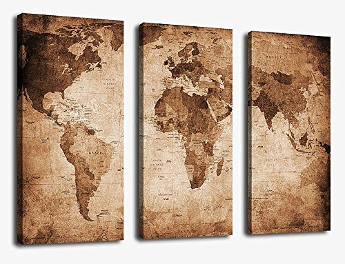 Canvas Wall Art Prints Vintage World Map Painting Ready To Hang 3 Pieces Large Framed Retro Antiquated Of The Abstract