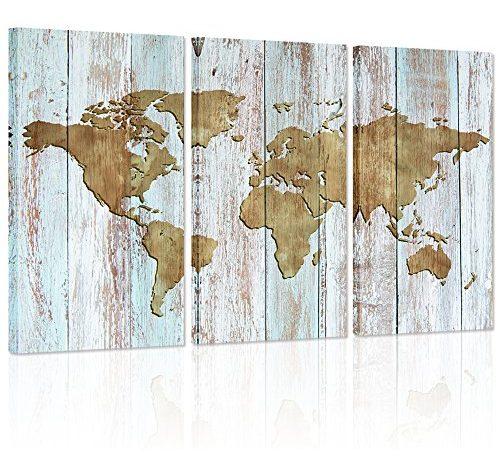 Large World Map Canvas Art,Vintage map Poster Printed on Canvas,Dual ...